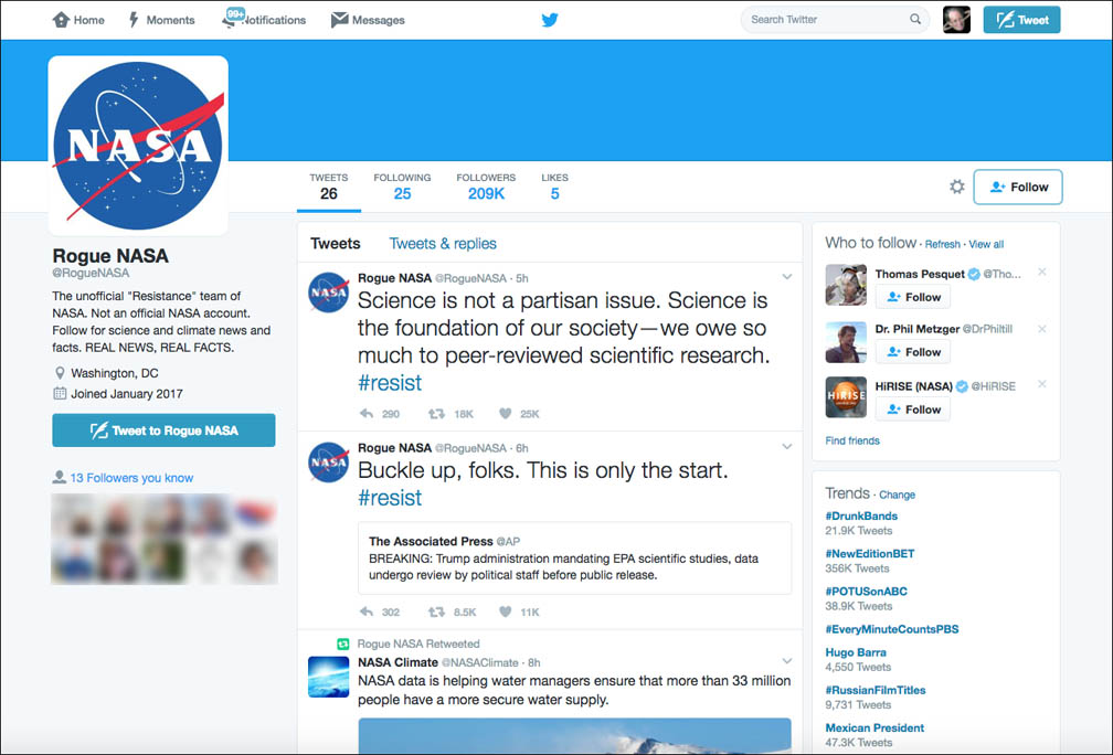 Rogue NASA, EPA, NPS Twitter Accounts Launched to Protest Trump Directives