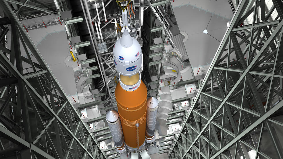 NASA Studies Whether to Add Crew to 1st SLS Megarocket Moon Launch in 2019