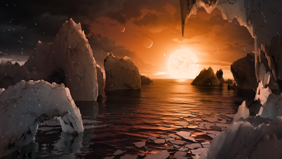Illustration showing the possible surface of TRAPPIST-1f, one of the newly discovered planets in the TRAPPIST-1 system. Credits: NASA/JPL-Caltech