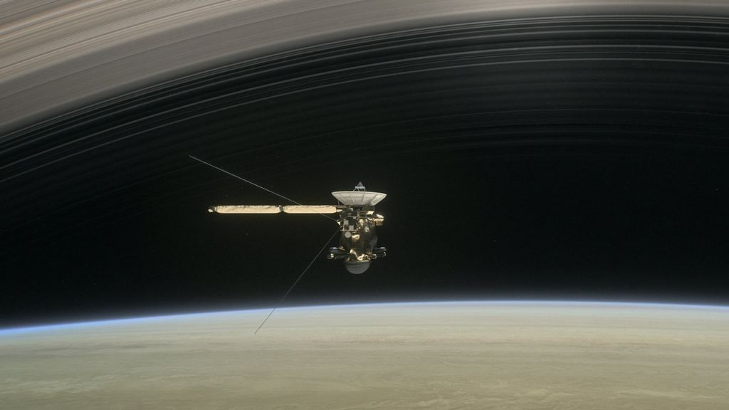 An artist's illustration of the Cassini probe's Grand Finale. Image: NASA/JPL/CalTech