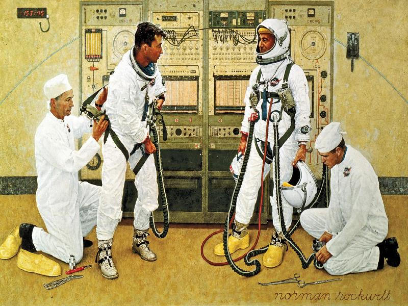 This Norman Rockwell painting is from 1965, and shows astronauts Gus Grissom and John Young suiting up for the first Gemini flight in March, 1965. NASA loaned Rockwell a spacesuit for the painting. Image: Norman Rockwell, NASA Art Program