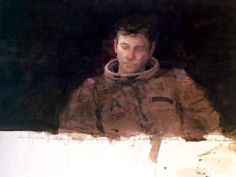 This Henry Casselli watercolor shows astronaut John Young preparing for a launch on April 12, 1981. What must he have been thinking as he prepared for the first flight of the Space Shuttle Program? Image: Henry Casselli, Courtesy NASA Art Program