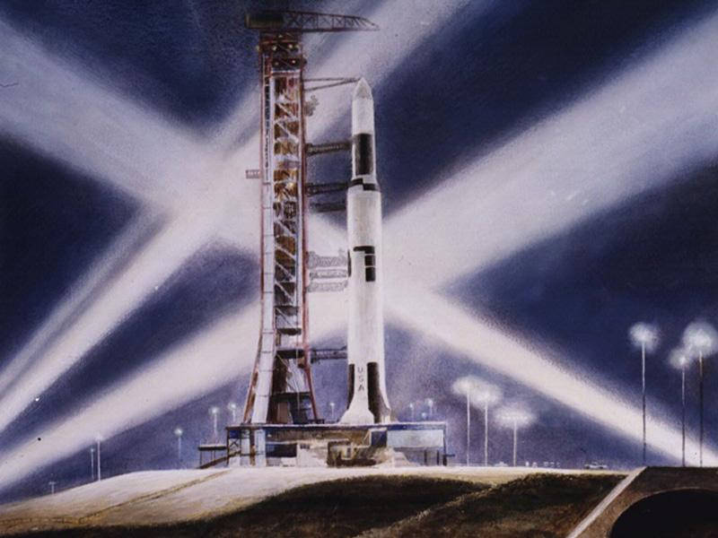 Artist Peter Hurd painted the launch of Skylab in 1973. Image Credit: Peter Hurd, Courtesy of National Air and Space Museum, Smithsonian Institution