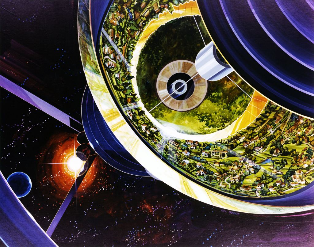 This cut-away image of a Bernal Sphere colony was created by artist Rick Guidice. Image: Rick Guidice, NASA Ames Research Center