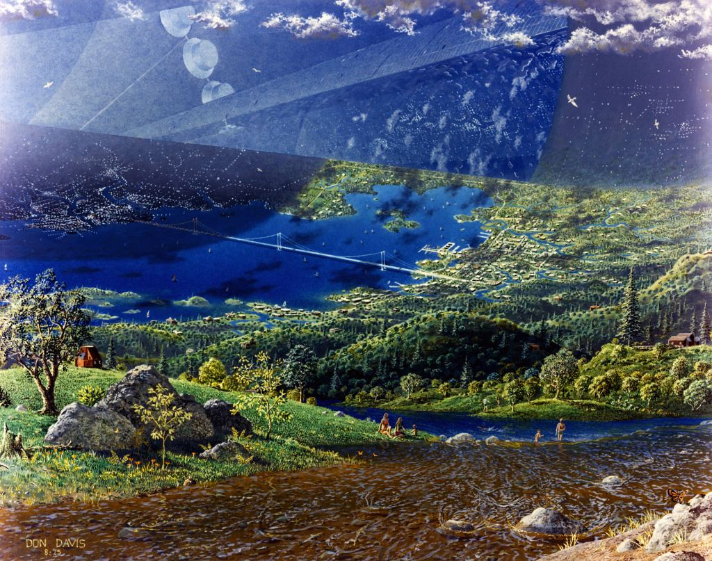 This piece by artist Don Davis depicts the end-cap of a cylindrical colony. Notice the suspension bridge, and people enjoying themselves by a river. Image: Don Davis, NASA Ames Research Center