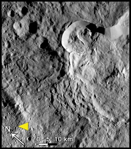 Type 3 landslides on Ceres occur at low latitudes at large craters, and form when ice is melted by impacts. Credit: NASA/JPL-Caltech/UCLA/MPS/DLR/IDA, taken by Dawn Framing Camera