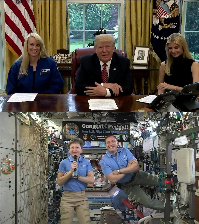 NASA Astronaut Peggy Whitson Sets US Space Endurance Record, Speaks to President Trump