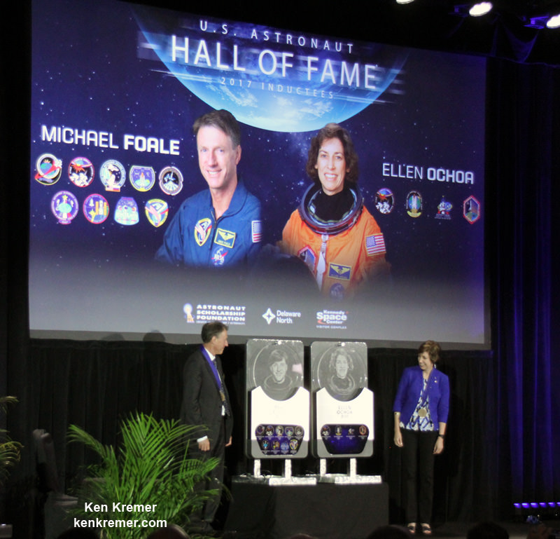 Two Veteran NASA Astronauts Michael Foale and Ellen Ochoa Inducted into U.S. Astronaut Hall of Fame at KSC