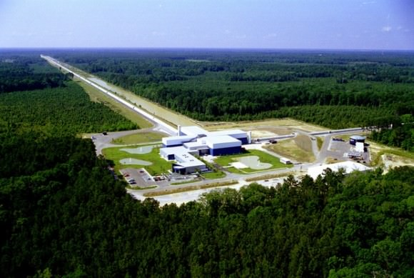 The Laser Interferometer Gravitational-Wave Observatory (LIGO)facility in Livingston, Louisiana. The other facility is located in Hanford, Washington. Image: LIGO