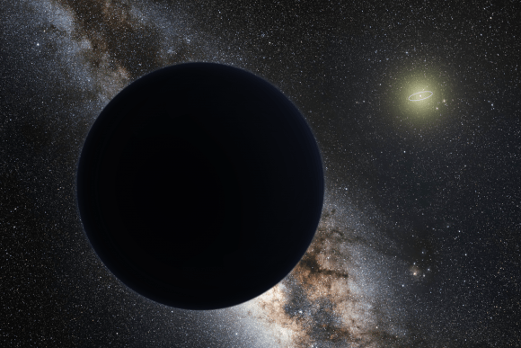 Artist's impression of Planet Nine, blocking out the Milky Way. The Sun is in the distance, with the orbit of Neptune shown as a ring. Credit: ESO/Tomruen/nagualdesign