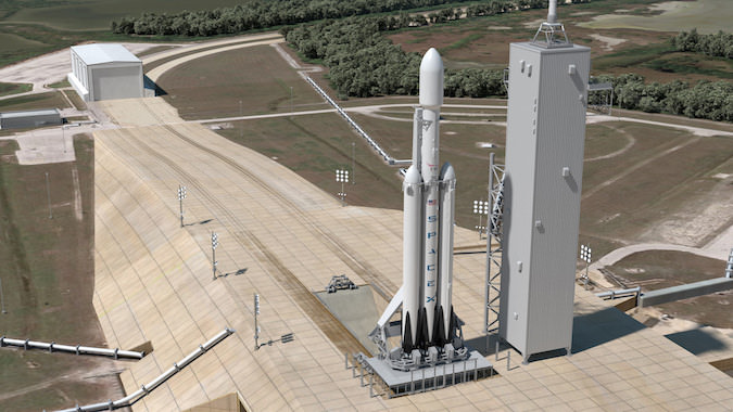 An artist's illustration of the Falcon Heavy rocket. Image: SpaceX