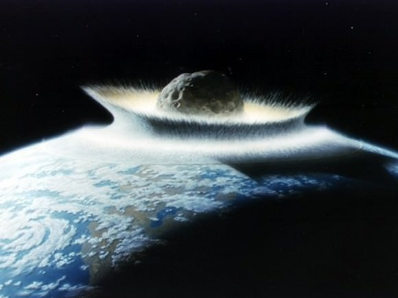 When an asteroid struck the Yucatan region about 66 million years ago, it wiped out the dinosaurs, and most of life on Earth. If it had hit elsewhere, the dinosaurs might well have survived. Credit: NASA/Don Davis