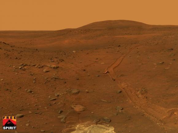 Spirit Embedded in Soft Soil on Mars