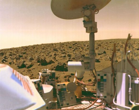 The Viking 2 lander captured this image of itself on the Martian surface. The Viking Landers were the last missions to directly look for life on Mars. By NASA - NASA website; description,[1] high resolution image.[2], Public Domain, https://commons.wikimedia.org/w/index.php?curid=17624
