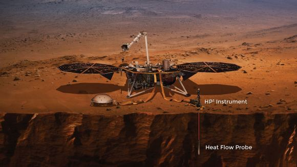 In this image, the Heat Flow and Physical Properties Probe is shown inserted into Mars. Image: NASA