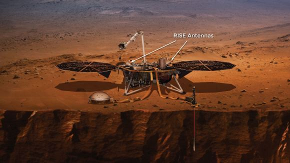 The two RISE antennae are shown in this image. RISE will reveal information about the Martian core by tracking InSight's position while Mars orbits the Sun. Image: NASA/Lockheed Martin