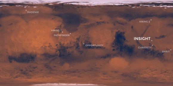 InSight will land at Elysium Planitia, just north of the Martian equator. Image: NASA/JPL-CalTech