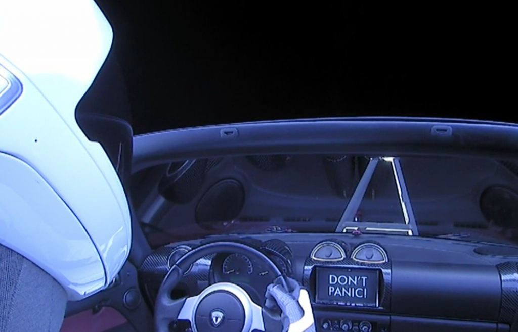 Don't Panic StarMan, Don't Panic. Credit: SpaceX