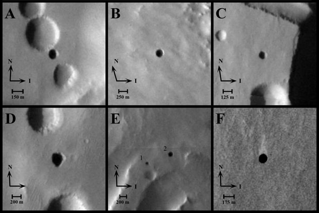 Images of cave openings on a Martian volcano. Credit: NASA/JPL-Caltech/ASU/USGS