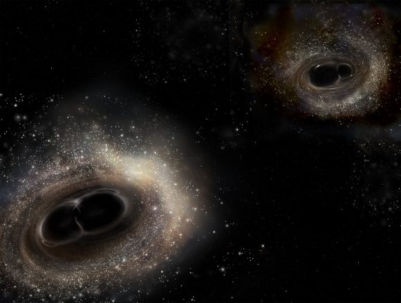 In February 2016, LIGO detected gravity waves for the first time. As this artist's illustration depicts, the gravitational waves were created by merging black holes. The third detection just announced was also created when two black holes merged. Credit: LIGO/A. Simonnet.