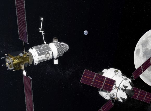 Artist's impression of the Deep Space Gateway, currently under development by Lockheed Martin. Credit: NASA